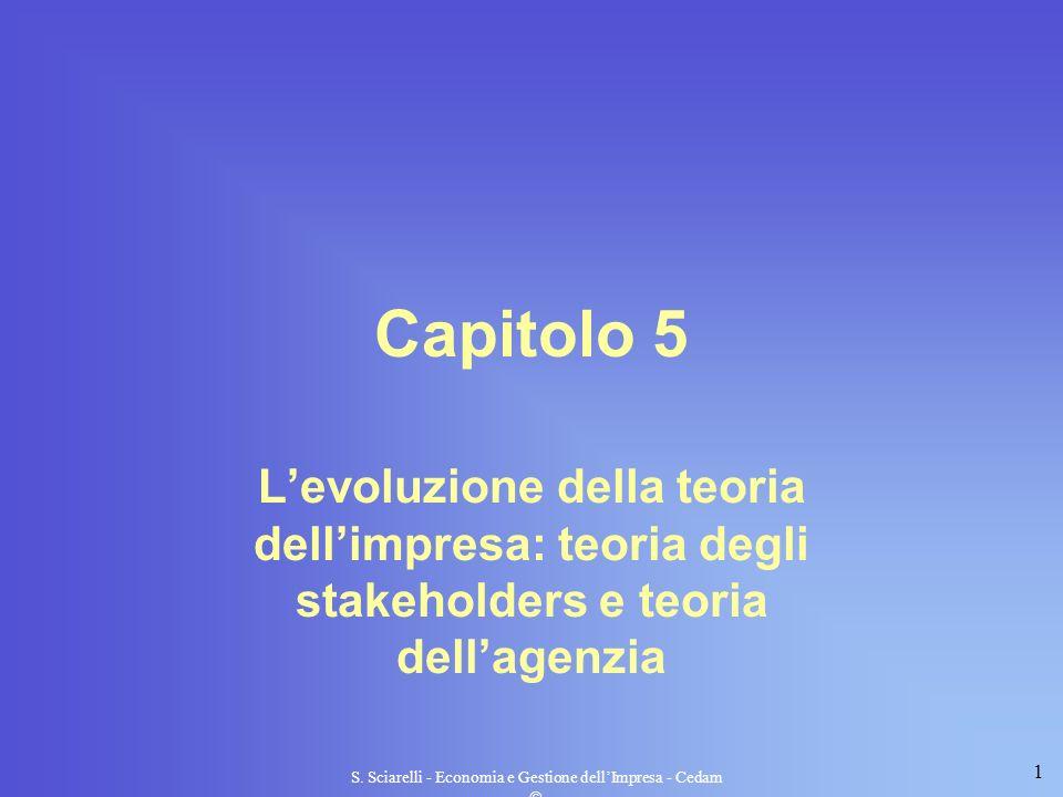 1 S. Sciarelli - Economia e Gestione dellImpresa - Cedam Capitolo 5 Levoluzione della teoria dellimpresa: teoria degli stakeholders e teoria dellagenz