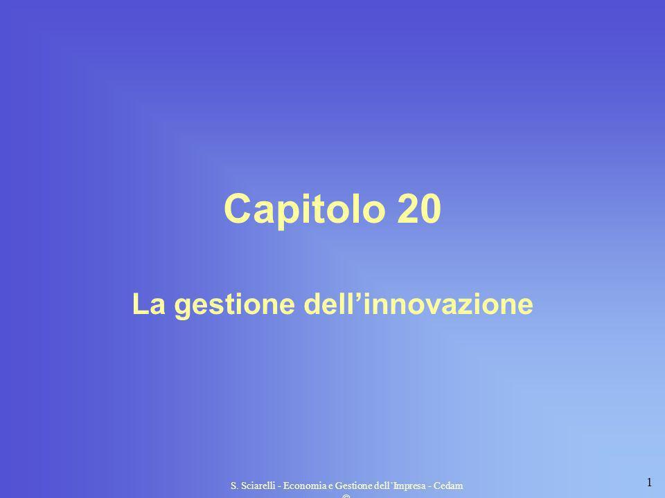 1 S. Sciarelli - Economia e Gestione dellImpresa - Cedam Capitolo 20 La gestione dellinnovazione