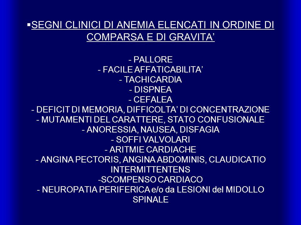 SEGNI CLINICI DI ANEMIA ELENCATI IN ORDINE DI COMPARSA E DI GRAVITA - PALLORE - FACILE AFFATICABILITA - TACHICARDIA - DISPNEA - CEFALEA - DEFICIT DI MEMORIA, DIFFICOLTA DI CONCENTRAZIONE - MUTAMENTI DEL CARATTERE, STATO CONFUSIONALE - ANORESSIA, NAUSEA, DISFAGIA - SOFFI VALVOLARI - ARITMIE CARDIACHE - ANGINA PECTORIS, ANGINA ABDOMINIS, CLAUDICATIO INTERMITTENTENS -SCOMPENSO CARDIACO - NEUROPATIA PERIFERICA e/o da LESIONI del MIDOLLO SPINALE