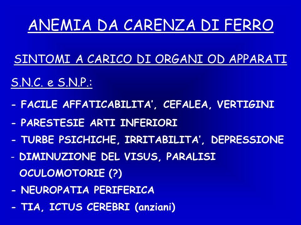 ANEMIA DA CARENZA DI FERRO S.N.C.