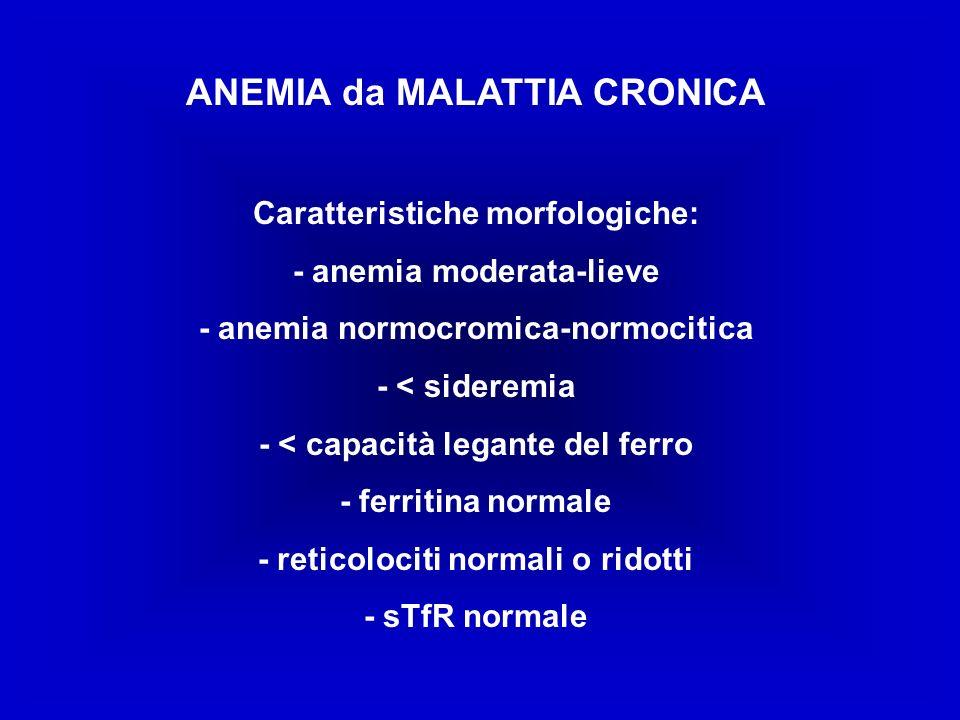 ANEMIA da MALATTIA CRONICA Caratteristiche morfologiche: - anemia moderata-lieve - anemia normocromica-normocitica - < sideremia - < capacità legante del ferro - ferritina normale - reticolociti normali o ridotti - sTfR normale