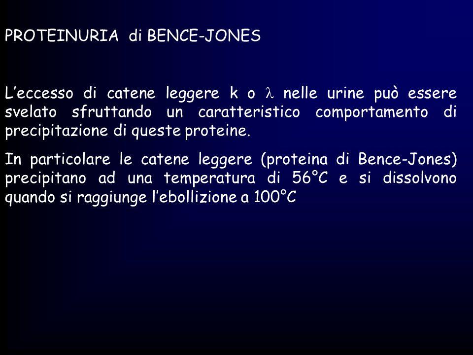 PROTEINURIA di BENCE-JONES Leccesso di catene leggere k o nelle urine può essere svelato sfruttando un caratteristico comportamento di precipitazione