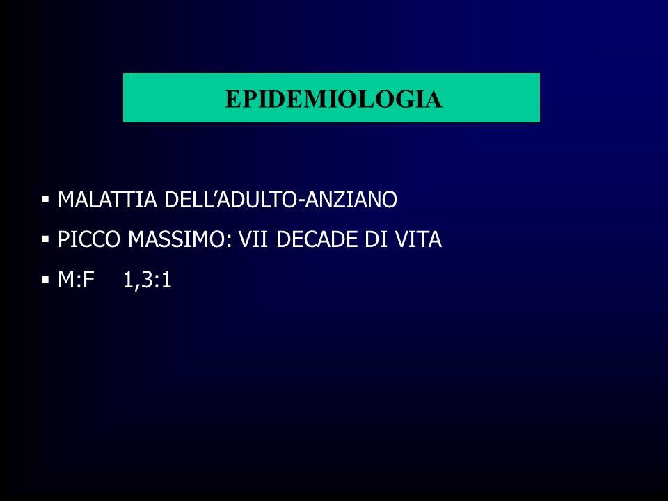 EPIDEMIOLOGIA MALATTIA DELLADULTO-ANZIANO PICCO MASSIMO: VII DECADE DI VITA M:F 1,3:1