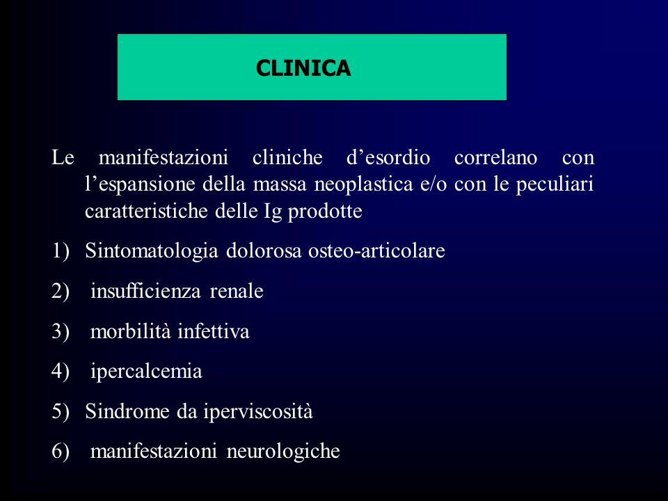 CLINICA Le manifestazioni cliniche desordio correlano con lespansione della massa neoplastica e/o con le peculiari caratteristiche delle Ig prodotte 1