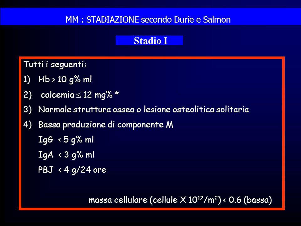 MM : STADIAZIONE secondo Durie e Salmon Stadio I Tutti i seguenti: 1)Hb > 10 g% ml 2) calcemia 12 mg% * 3)Normale struttura ossea o lesione osteolitic