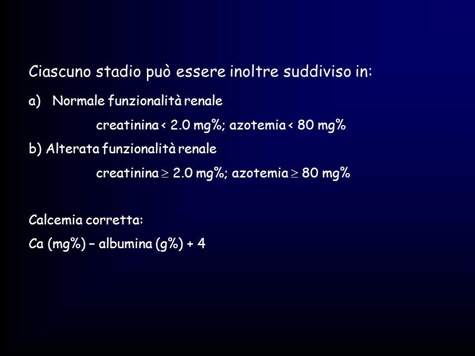 Ciascuno stadio può essere inoltre suddiviso in: a)Normale funzionalità renale creatinina < 2.0 mg%; azotemia < 80 mg% b) Alterata funzionalità renale