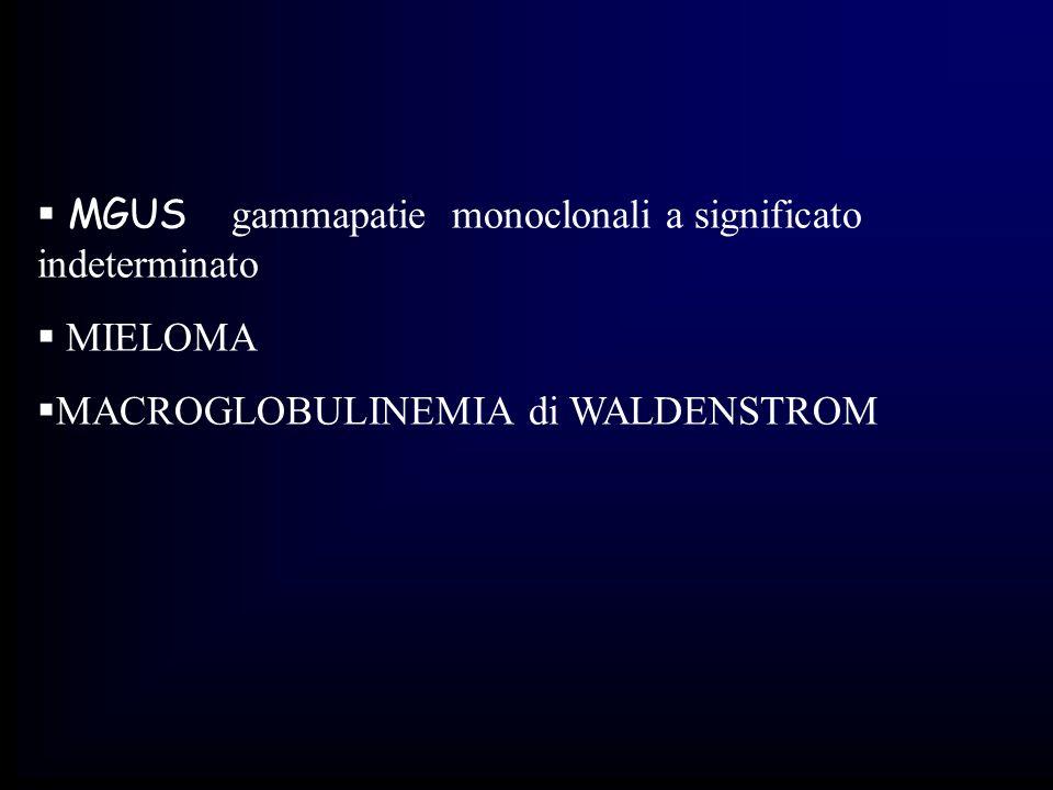 CRITERI DIAGNOSTICI DEL MIELOMA MULTIPLO Criteri maggiori diagnosi istopatologica di plasmocitoma alla biopsia tessutale % di plasmacellule nel midollo osseo > 30% concentrazione sierica della componente M > 3.5 g% ml per le IgG; > 2 g% ml per le IgA; escrezione urinaria nelle 24 ore > 1 g per le catene k o, in assenza di amiloidosi