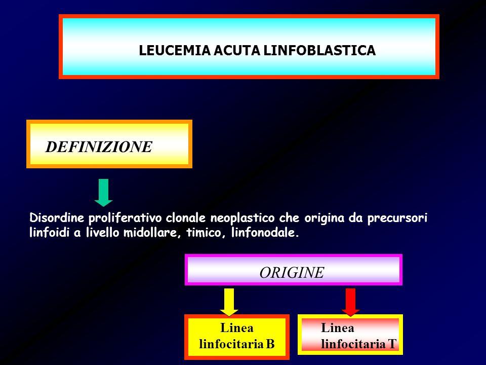 LEUCEMIA ACUTA LINFOBLASTICA DEFINIZIONE Disordine proliferativo clonale neoplastico che origina da precursori linfoidi a livello midollare, timico, l