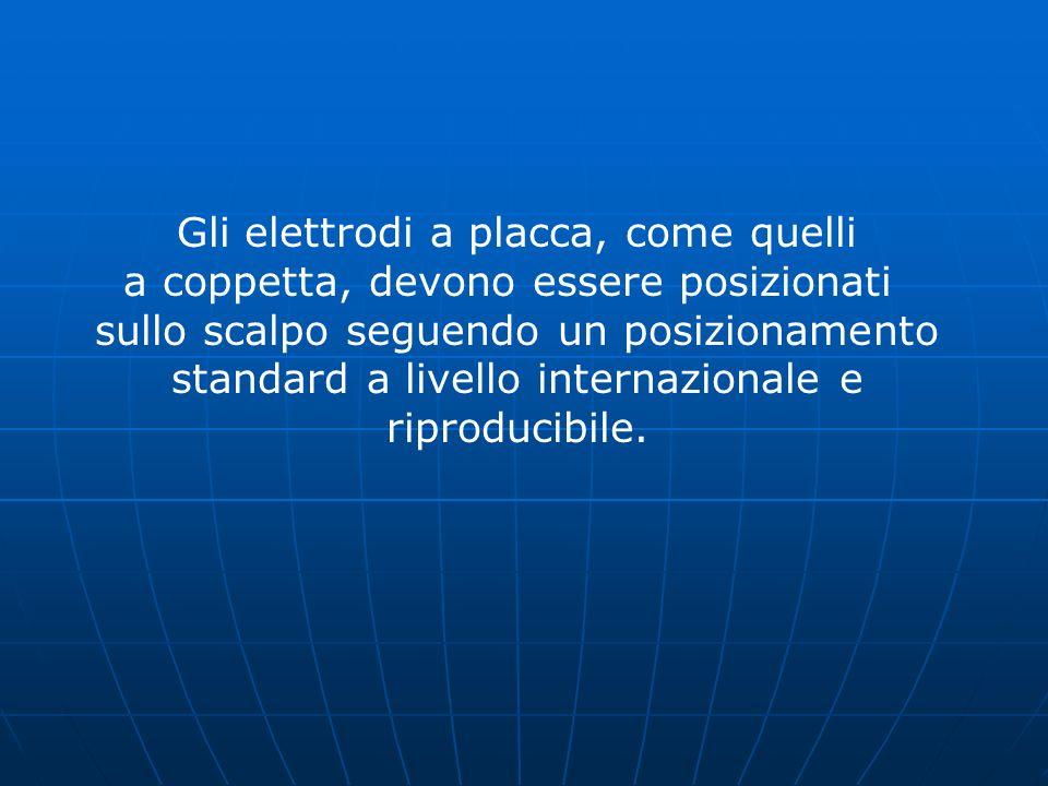 Gli elettrodi a placca, come quelli a coppetta, devono essere posizionati sullo scalpo seguendo un posizionamento standard a livello internazionale e