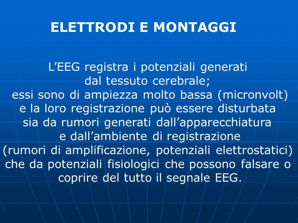 ELETTRODI E MONTAGGI LEEG registra i potenziali generati dal tessuto cerebrale; essi sono di ampiezza molto bassa (micronvolt) e la loro registrazione