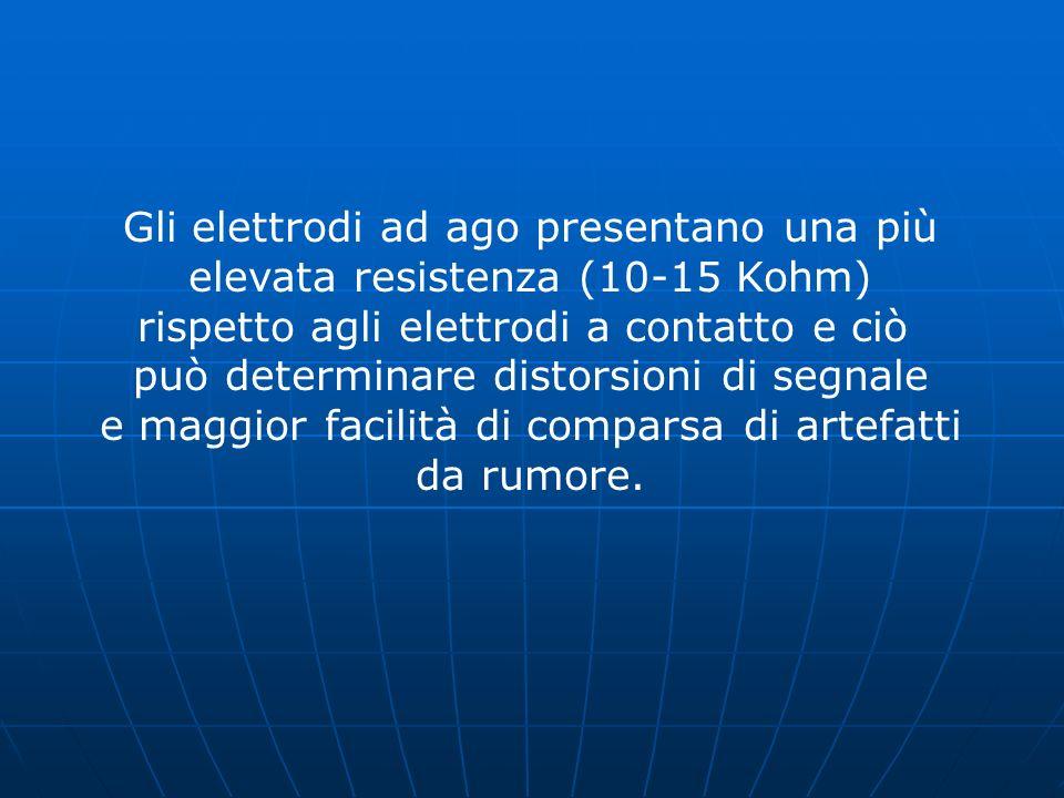 Gli elettrodi ad ago presentano una più elevata resistenza (10-15 Kohm) rispetto agli elettrodi a contatto e ciò può determinare distorsioni di segnal