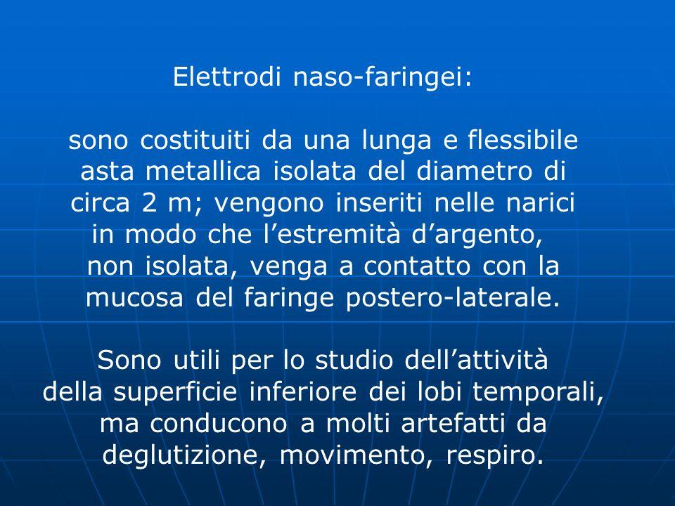 Elettrodi naso-faringei: sono costituiti da una lunga e flessibile asta metallica isolata del diametro di circa 2 m; vengono inseriti nelle narici in