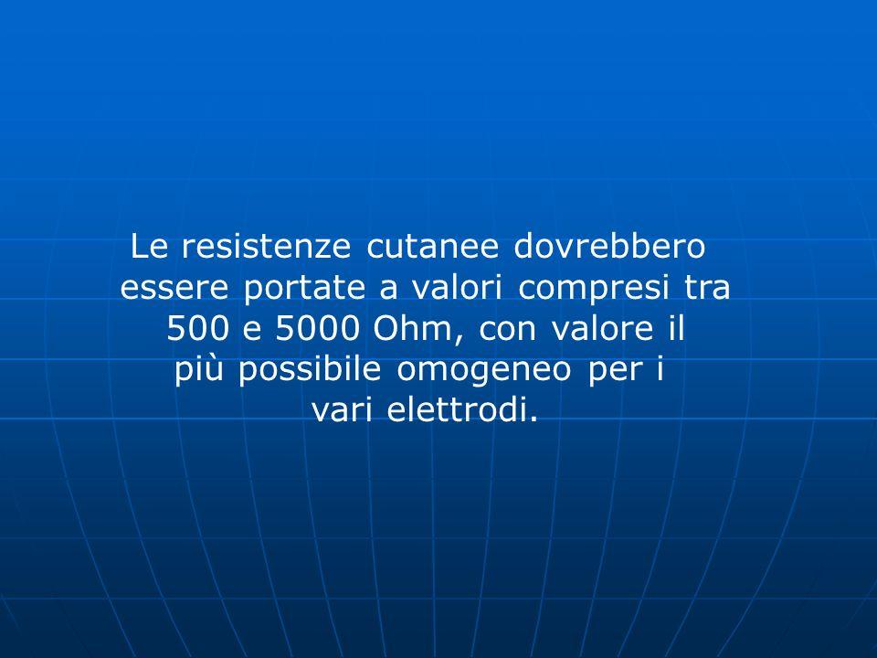 Le resistenze cutanee dovrebbero essere portate a valori compresi tra 500 e 5000 Ohm, con valore il più possibile omogeneo per i vari elettrodi.
