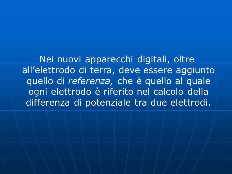 Nei nuovi apparecchi digitali, oltre allelettrodo di terra, deve essere aggiunto quello di referenza, che è quello al quale ogni elettrodo è riferito