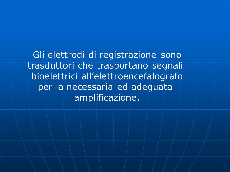 Gli elettrodi di registrazione sono trasduttori che trasportano segnali bioelettrici allelettroencefalografo per la necessaria ed adeguata amplificazi