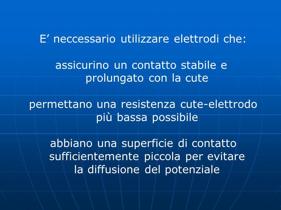 E neccessario utilizzare elettrodi che: assicurino un contatto stabile e prolungato con la cute permettano una resistenza cute-elettrodo più bassa pos