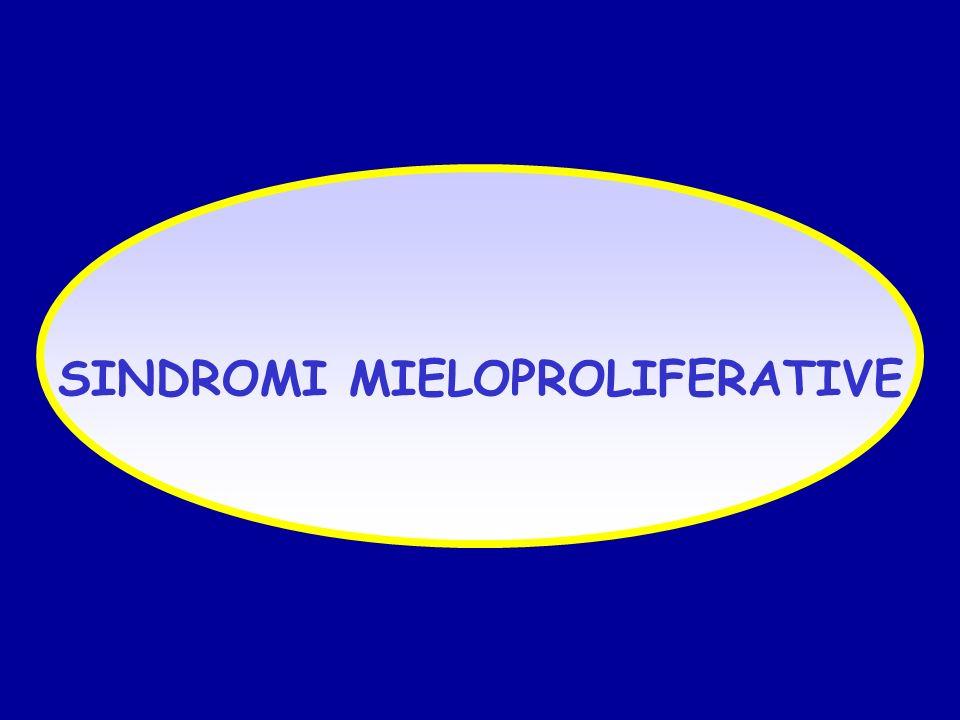 LMC: CRISI BLASTICA CITOCHIMICA Blasti con caratteristiche citochimiche proprie del tipo cellulare coinvolto nella trasformazione blastica