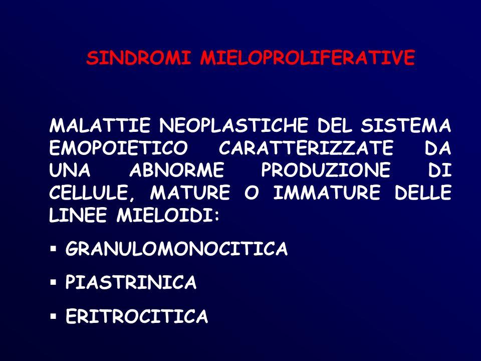 LMC: CRISI BLASTICA IMMUNOLOGIA BLASTI CON CARATTERISTICHE IMMUNOLOGICHE PROPRIE DEL TIPO CELLULARE COINVOLTO NELLA TRASFORMAZIONE BLASTICA -CRISI BLASTICA DI TIPO MIELOIDE: CD33+, CD13+,CD11b+/-, DR+,CD34+/- -CB MONOCITARIA (CD14, CD11c+/-) -CB MEGACARIOCITARIA CD41a+, CD61+ -CB ERITROIDE : Ab monoclonali anti-glicoforina -CB LINFOIDE: CD19+, TdT+, HLA-DR+, CD10+ e c + (pre-B) -CB MISTE BIFENOTIPICHE :marcatori mieloidi e linfoidi