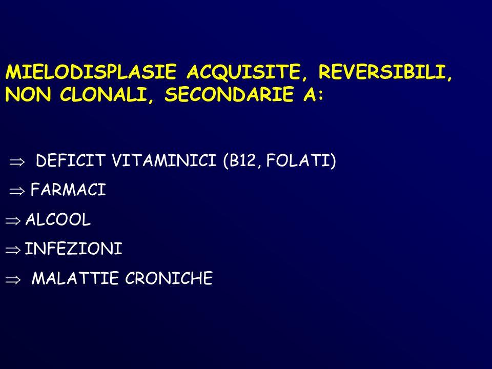 MIELODISPLASIE ACQUISITE, REVERSIBILI, NON CLONALI, SECONDARIE A: DEFICIT VITAMINICI (B12, FOLATI) FARMACI ALCOOL INFEZIONI MALATTIE CRONICHE