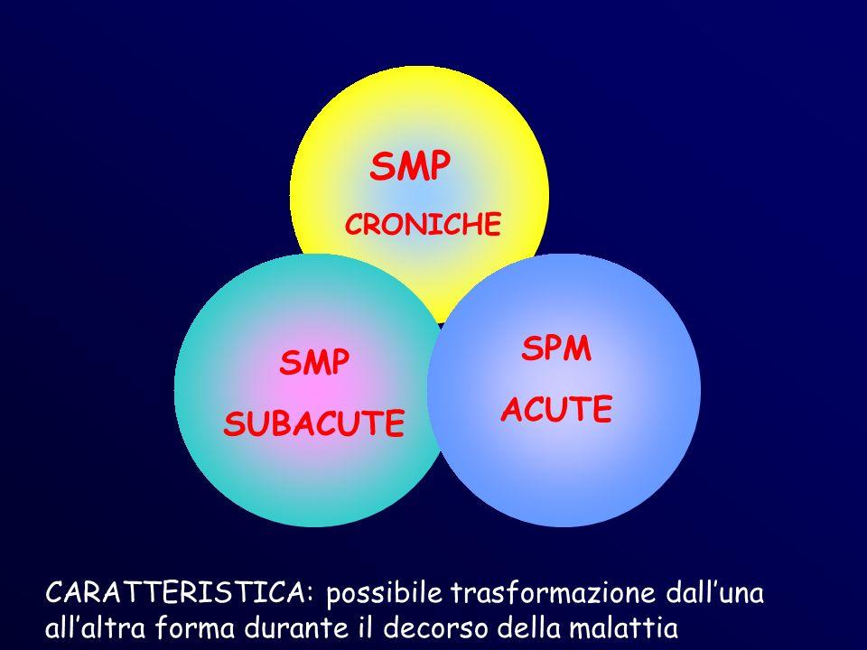 SMP CRONICHE SMP SUBACUTE SPM ACUTE CARATTERISTICA: possibile trasformazione dalluna allaltra forma durante il decorso della malattia