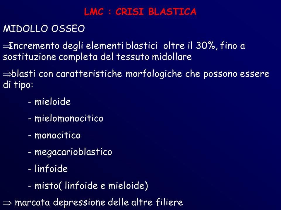 LMC : CRISI BLASTICA MIDOLLO OSSEO Incremento degli elementi blastici oltre il 30%, fino a sostituzione completa del tessuto midollare blasti con caratteristiche morfologiche che possono essere di tipo: - mieloide - mielomonocitico - monocitico - megacarioblastico - linfoide - misto( linfoide e mieloide) marcata depressione delle altre filiere