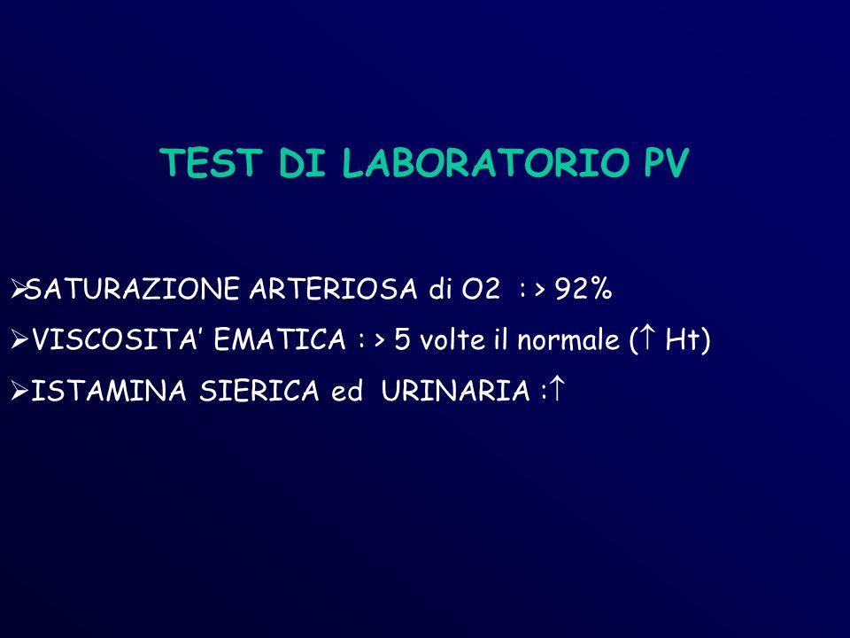 TEST DI LABORATORIO PV SATURAZIONE ARTERIOSA di O2 : > 92% VISCOSITA EMATICA : > 5 volte il normale ( Ht) ISTAMINA SIERICA ed URINARIA :