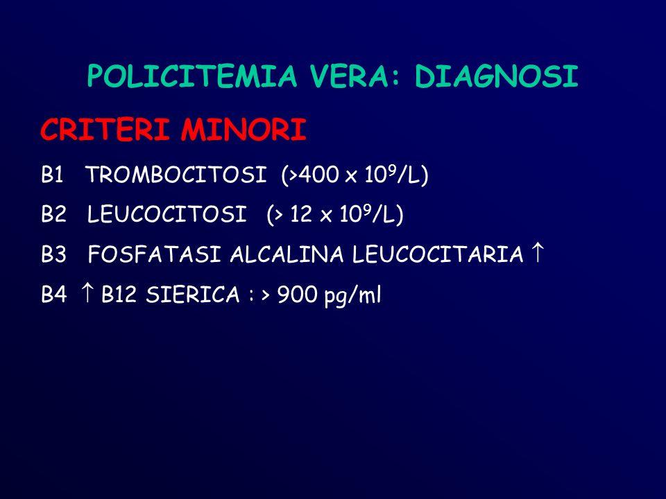 POLICITEMIA VERA: DIAGNOSI CRITERI MINORI B1 TROMBOCITOSI (>400 x 10 9 /L) B2 LEUCOCITOSI (> 12 x 10 9 /L) B3 FOSFATASI ALCALINA LEUCOCITARIA B4 B12 SIERICA : > 900 pg/ml
