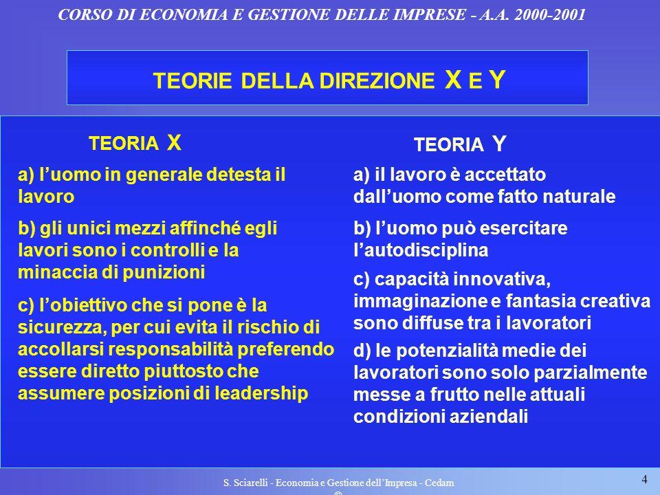 4 S. Sciarelli - Economia e Gestione dellImpresa - Cedam CORSO DI ECONOMIA E GESTIONE DELLE IMPRESE - A.A. 2000-2001 TEORIE DELLA DIREZIONE X E Y TEOR