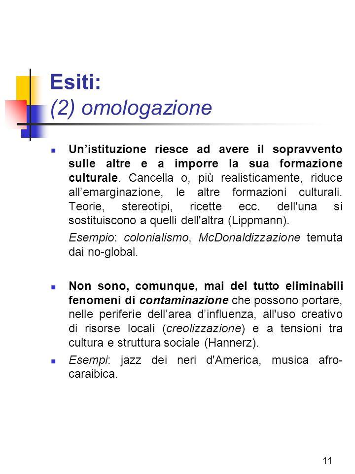 11 Esiti: (2) omologazione Unistituzione riesce ad avere il sopravvento sulle altre e a imporre la sua formazione culturale.
