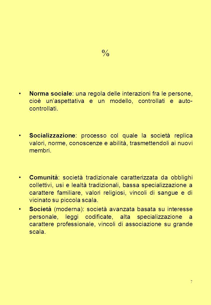 7 % Norma sociale: una regola delle interazioni fra le persone, cioè unaspettativa e un modello, controllati e auto- controllati. Socializzazione: pro