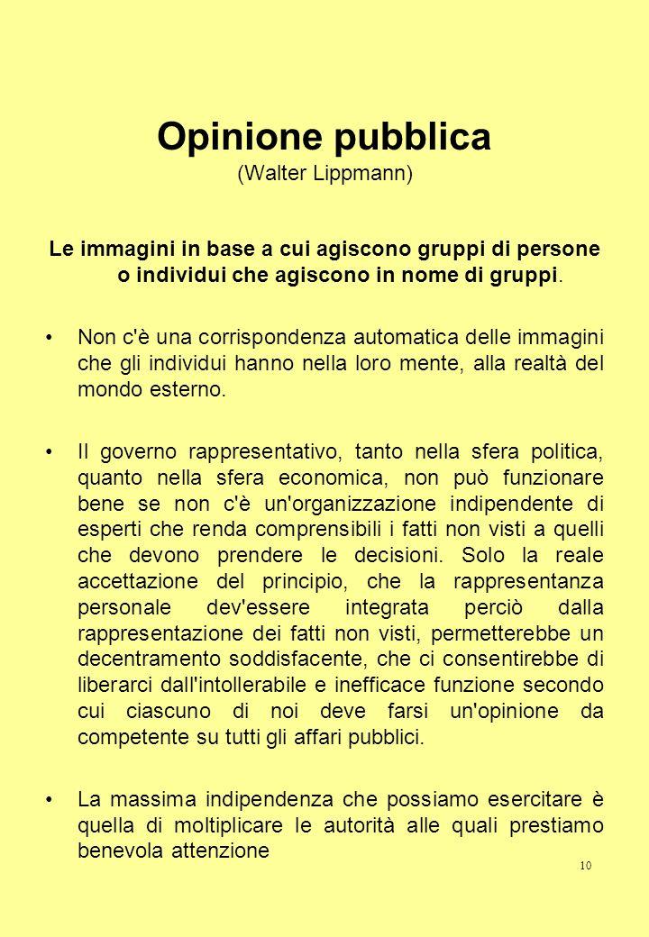 10 Opinione pubblica (Walter Lippmann) Le immagini in base a cui agiscono gruppi di persone o individui che agiscono in nome di gruppi. Non c'è una co