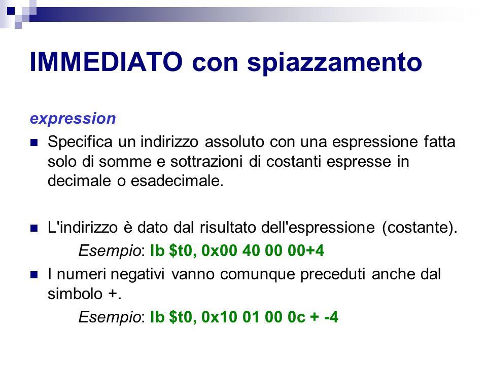 IMMEDIATO con spiazzamento expression Specifica un indirizzo assoluto con una espressione fatta solo di somme e sottrazioni di costanti espresse in decimale o esadecimale.