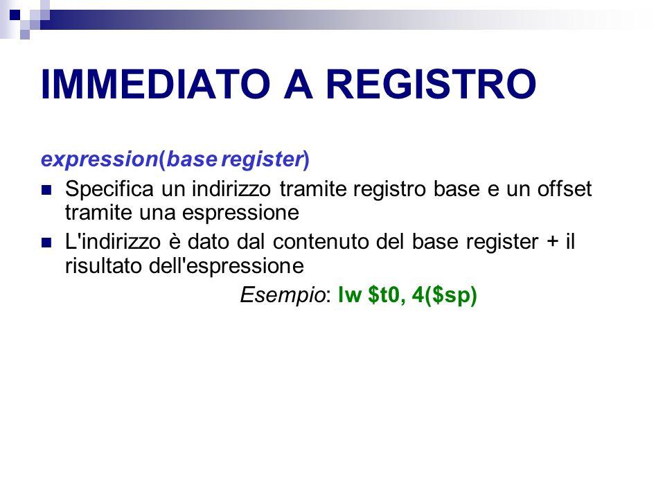 IMMEDIATO A REGISTRO expression(base register) Specifica un indirizzo tramite registro base e un offset tramite una espressione L indirizzo è dato dal contenuto del base register + il risultato dell espressione Esempio: lw $t0, 4($sp)