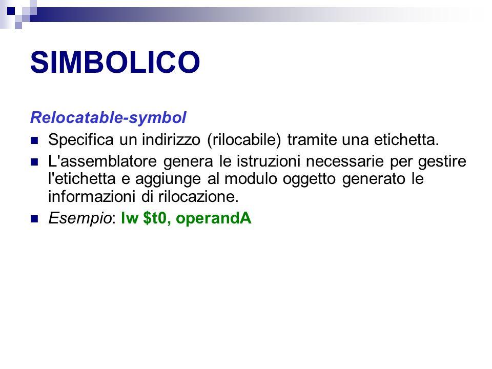SIMBOLICO Relocatable-symbol Specifica un indirizzo (rilocabile) tramite una etichetta.