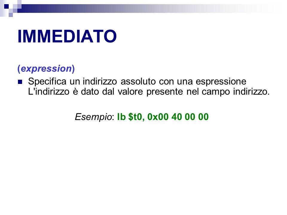 IMMEDIATO (expression) Specifica un indirizzo assoluto con una espressione L indirizzo è dato dal valore presente nel campo indirizzo.