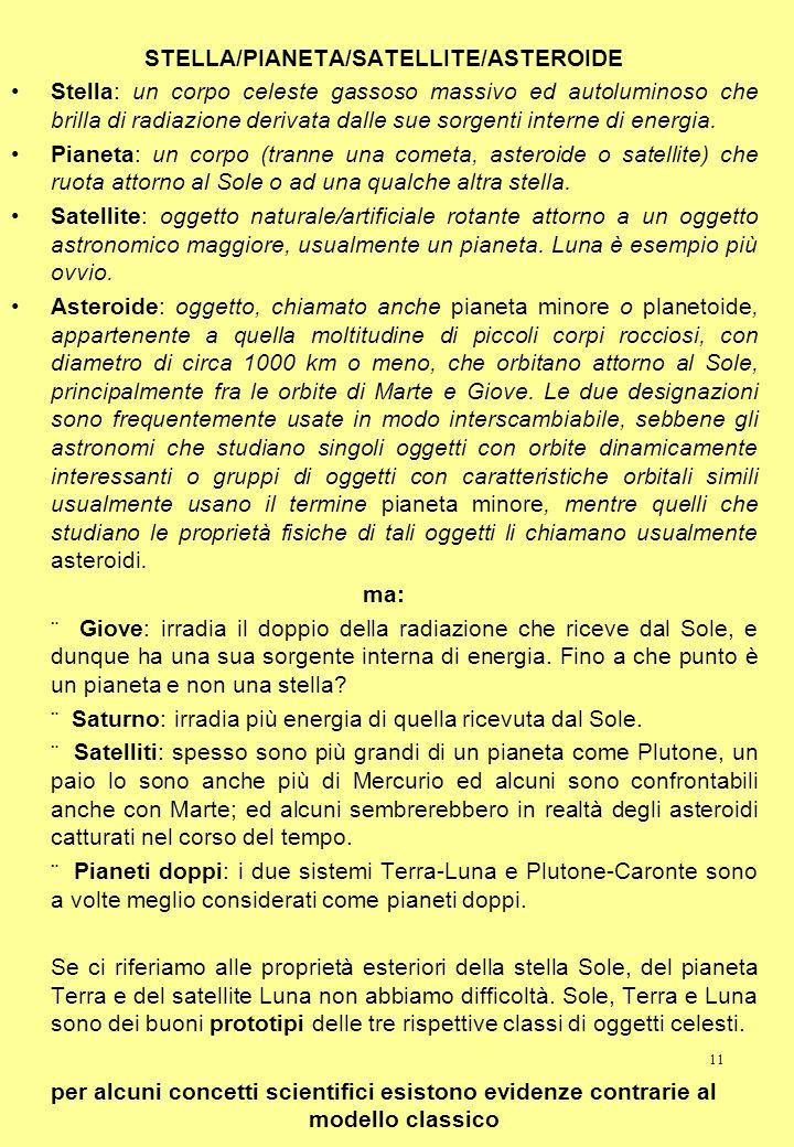 11 STELLA/PIANETA/SATELLITE/ASTEROIDE Stella: un corpo celeste gassoso massivo ed autoluminoso che brilla di radiazione derivata dalle sue sorgenti in