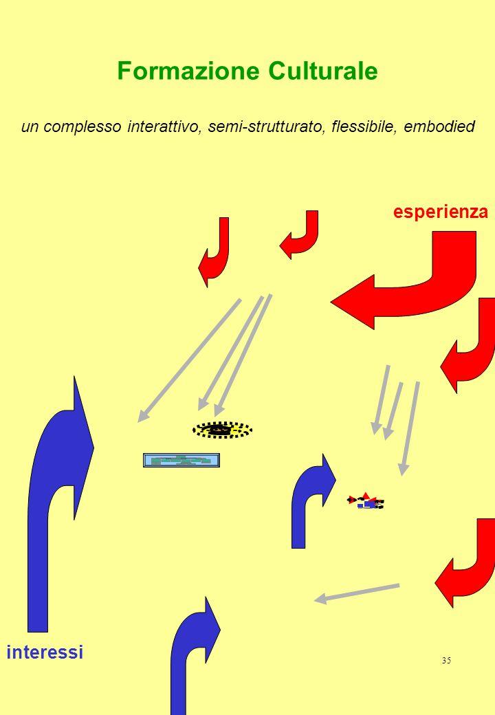 35 Formazione Culturale un complesso interattivo, semi-strutturato, flessibile, embodied interessi esperienza