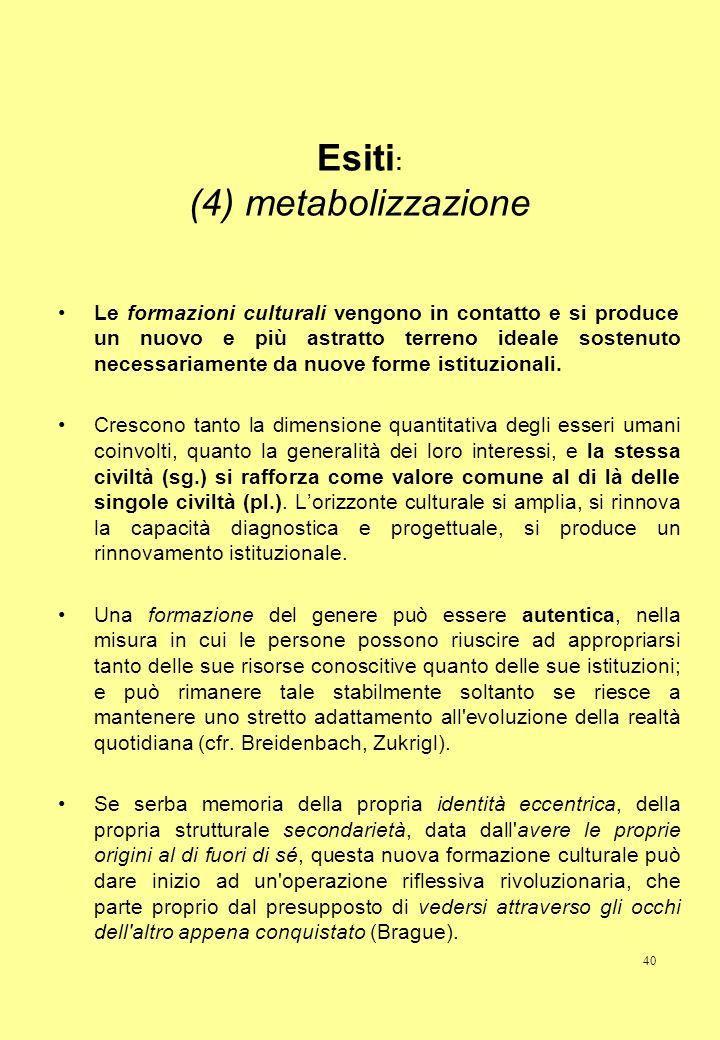 40 Esiti : (4) metabolizzazione Le formazioni culturali vengono in contatto e si produce un nuovo e più astratto terreno ideale sostenuto necessariame