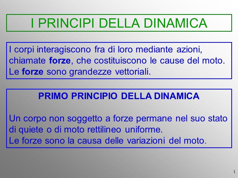 1 I PRINCIPI DELLA DINAMICA I corpi interagiscono fra di loro mediante azioni, chiamate forze, che costituiscono le cause del moto. Le forze sono gran