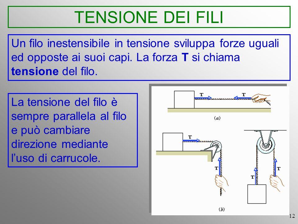 12 TENSIONE DEI FILI Un filo inestensibile in tensione sviluppa forze uguali ed opposte ai suoi capi. La forza T si chiama tensione del filo. La tensi