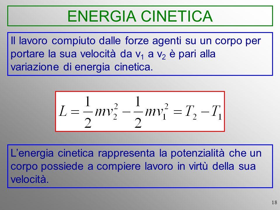 18 ENERGIA CINETICA Il lavoro compiuto dalle forze agenti su un corpo per portare la sua velocità da v 1 a v 2 è pari alla variazione di energia cinet
