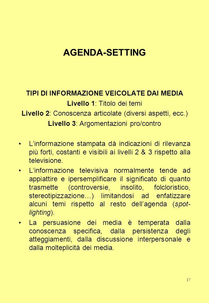 17 AGENDA-SETTING TIPI DI INFORMAZIONE VEICOLATE DAI MEDIA Livello 1: Titolo dei temi Livello 2: Conoscenza articolate (diversi aspetti, ecc.) Livello
