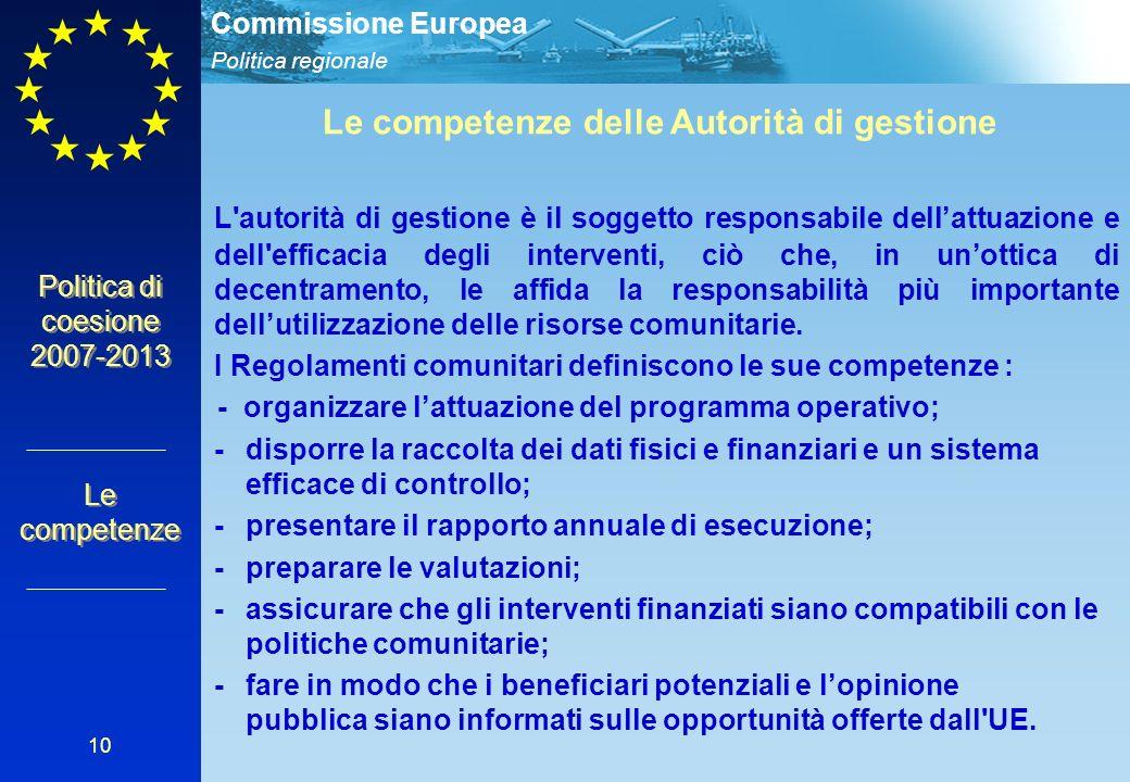 Politica regionale Commissione Europea 10 Politica di coesione 2007-2013 Le competenze Le competenze delle Autorità di gestione L autorità di gestione è il soggetto responsabile dellattuazione e dell efficacia degli interventi, ciò che, in unottica di decentramento, le affida la responsabilità più importante dellutilizzazione delle risorse comunitarie.