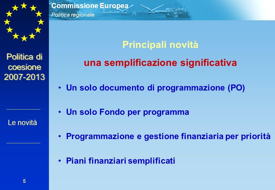 Politica regionale Commissione Europea 5 Politica di coesione 2007-2013 Principali novità una semplificazione significativa Un solo documento di programmazione (PO) Un solo Fondo per programma Programmazione e gestione finanziaria per priorità Piani finanziari semplificati Le novità