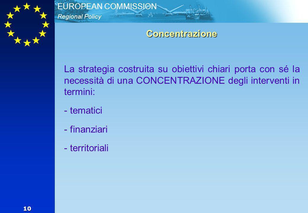 Regional Policy EUROPEAN COMMISSION 10 Concentrazione La strategia costruita su obiettivi chiari porta con sé la necessità di una CONCENTRAZIONE degli interventi in termini: - - tematici - - finanziari - - territoriali