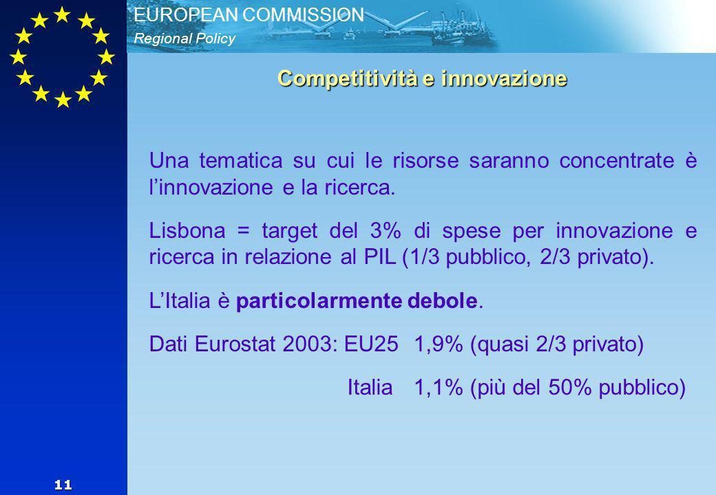 Regional Policy EUROPEAN COMMISSION 11 Competitività e innovazione Una tematica su cui le risorse saranno concentrate è linnovazione e la ricerca.