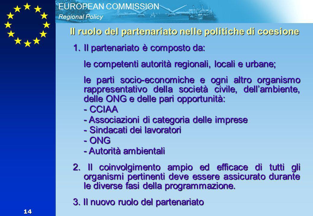 Regional Policy EUROPEAN COMMISSION 14 Il ruolo del partenariato nelle politiche di coesione 1.Il partenariato è composto da: le competenti autorità regionali, locali e urbane; le parti socio-economiche e ogni altro organismo rappresentativo della società civile, dellambiente, delle ONG e delle pari opportunità: - CCIAA - Associazioni di categoria delle imprese - Sindacati dei lavoratori - ONG - Autorità ambientali 2.