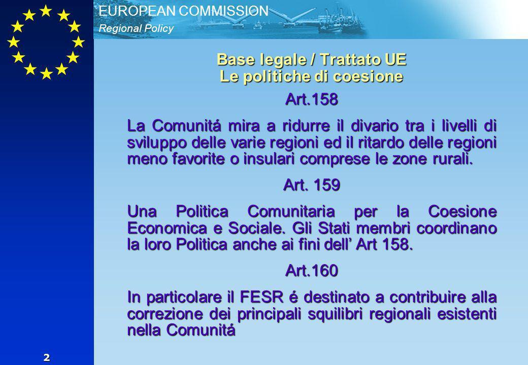 Regional Policy EUROPEAN COMMISSION 2 Base legale / Trattato UE Le politiche di coesione Art.158 La Comunitá mira a ridurre il divario tra i livelli di sviluppo delle varie regioni ed il ritardo delle regioni meno favorite o insulari comprese le zone rurali.