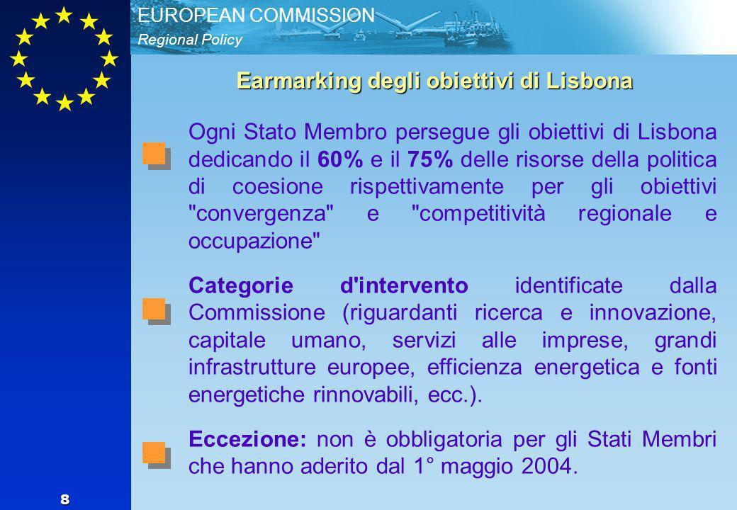 Regional Policy EUROPEAN COMMISSION 8 Earmarking degli obiettivi di Lisbona Ogni Stato Membro persegue gli obiettivi di Lisbona dedicando il 60% e il