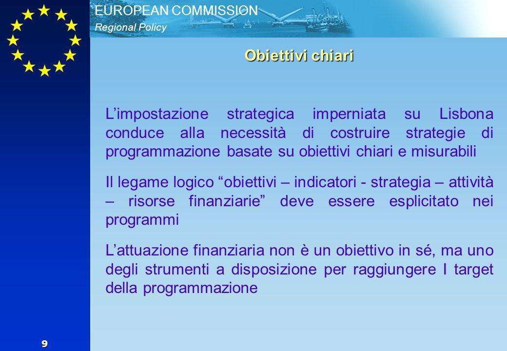 Regional Policy EUROPEAN COMMISSION 9 Obiettivi chiari Limpostazione strategica imperniata su Lisbona conduce alla necessità di costruire strategie di